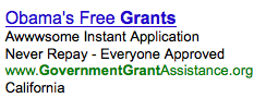 AdWord Ad about Government Grants