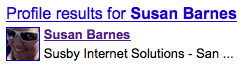 Susan Barnes' Google Profile