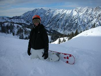 Susan Barnes snowboarding at Snowbird, Utah