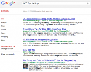 "Search for Your Competition: ""SEO Tips for Blog Posts"""