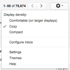 Gmail settings gear button