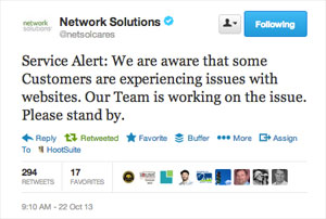 DNS Issue Service Alert from Network Solutions on Twitter