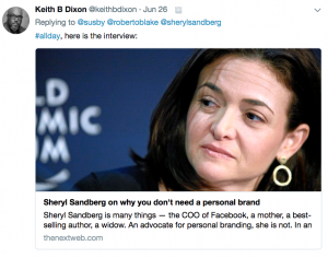Sheryl Sanberg article on personal branding